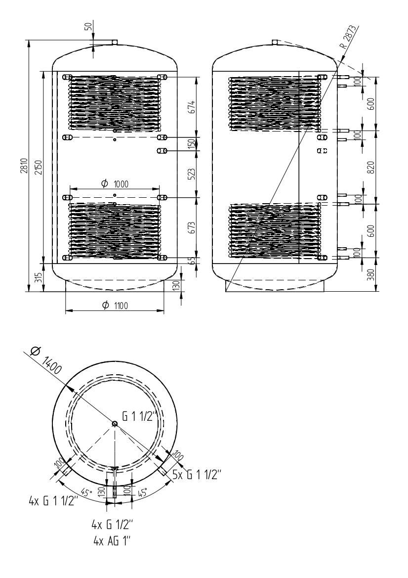 zbiornik buforowy uniwersalny 4000l z dwoma wymiennikami