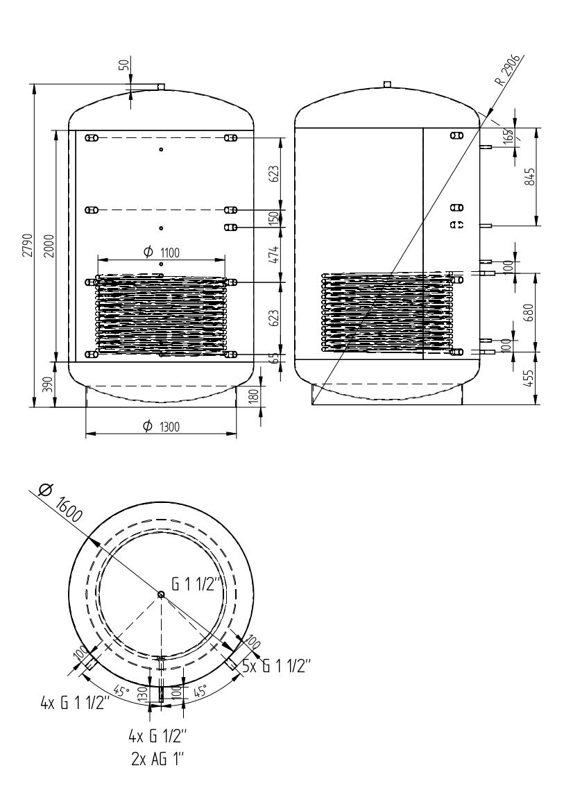 Zbiornik buforowy uniwersalny 5000l z wymiennikiem